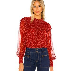 Free People $128 Roma Blouse in Berry Combo Size S